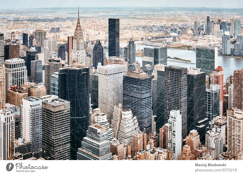 Aerial view of New York City skyline, USA. aerial city building metropolis skyscraper Manhattan office apartment architecture NYC travel cityscape America urban