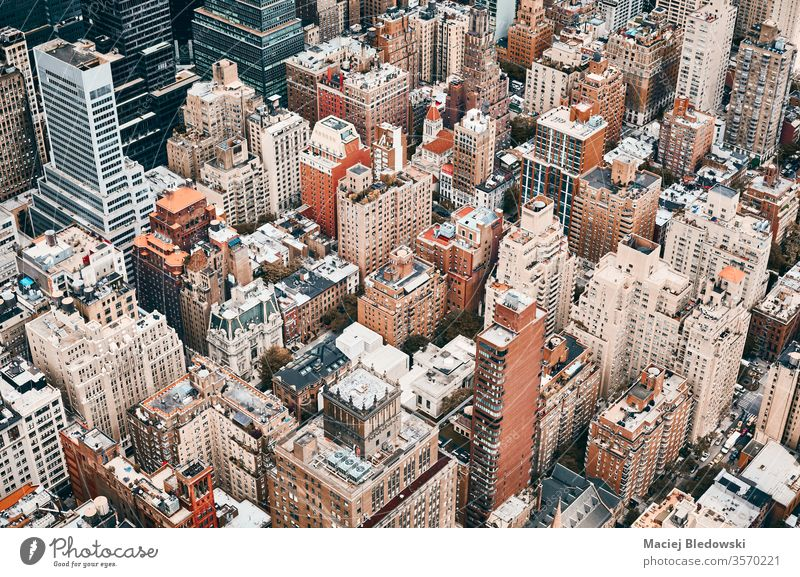 Aerial view of Manhattan, New York City, USA. aerial city building metropolis house office apartment architecture residential NYC travel cityscape America urban