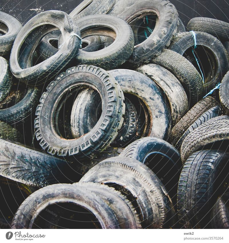 Rubber Rings Car tire Old Trash waste worn-out Recycling Dirty Plastic hotchpotch Many Collection point Environmental pollution Container Trash container