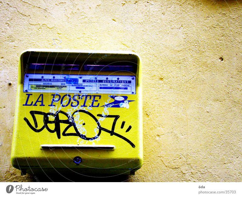La Poste Mailbox Transmit Yellow Obscure Graffiti