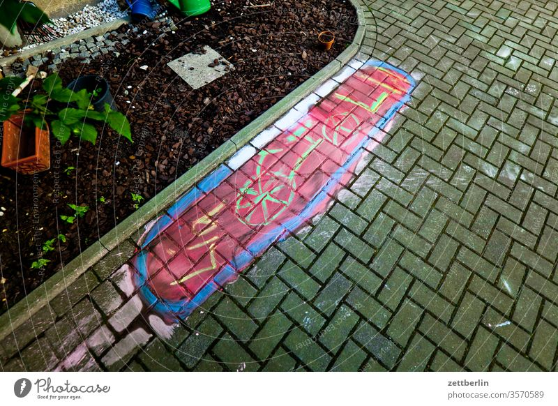Cycle parking for Lia Old building Parking lot illustration chalk painting Reservation mark bicycle parking Bicycle on the outside House (Residential Structure)