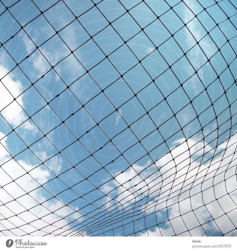squares in motion Sky Clouds Beautiful weather Net Network Hollow Knot Cloth Plastic Thin Movement Design Uniqueness Discover Communicate Arrangement Planning