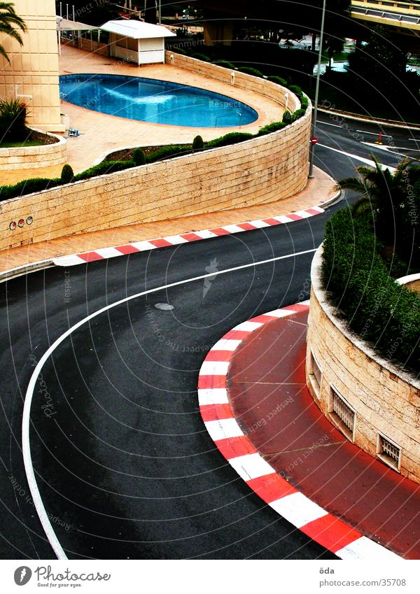 Street Car race Architecture Swimming pool Racing sports Curve Turnaround Monaco Formula 1 Monte Carlo