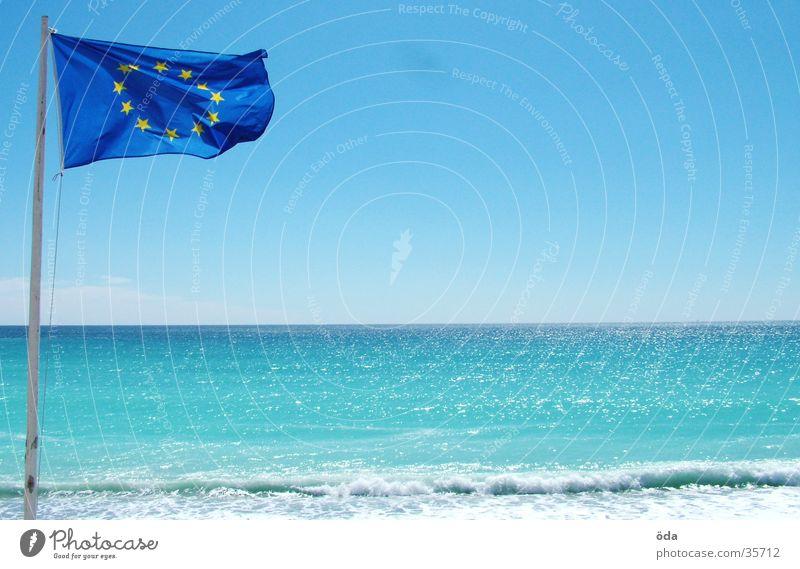 European single flag Flag Ocean Beach Obscure Côt d'Azur Vantage point Sun
