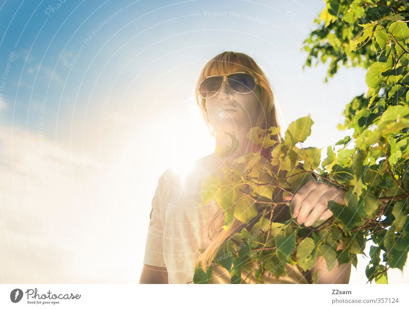 Sky Nature Youth (Young adults) Green Beautiful Summer Sun Tree Relaxation Landscape Calm Young woman Adults Feminine 18 - 30 years Think