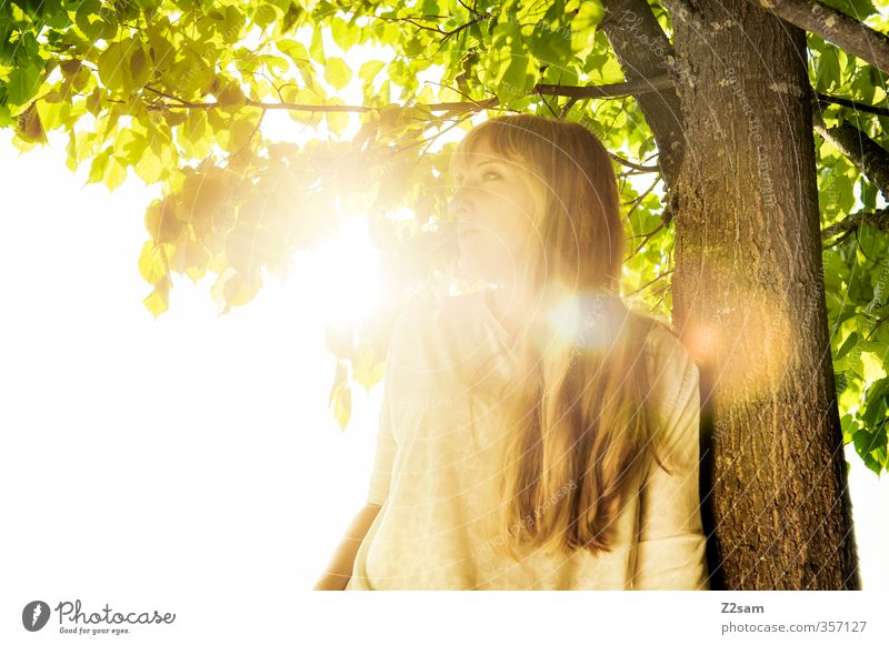Nature Youth (Young adults) Vacation & Travel Summer Tree Sun Landscape Relaxation Young woman Adults Feminine 18 - 30 years Think Style Blonde Leisure and hobbies