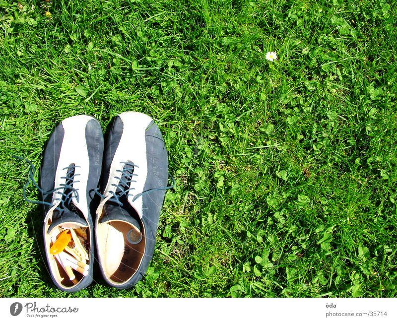 Green Meadow Grass Footwear Going Under Obscure Cigarette Left