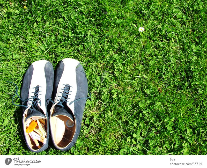 Shoes lower left #2 Footwear Grass Going Left Under Cigarette Green Meadow Obscure