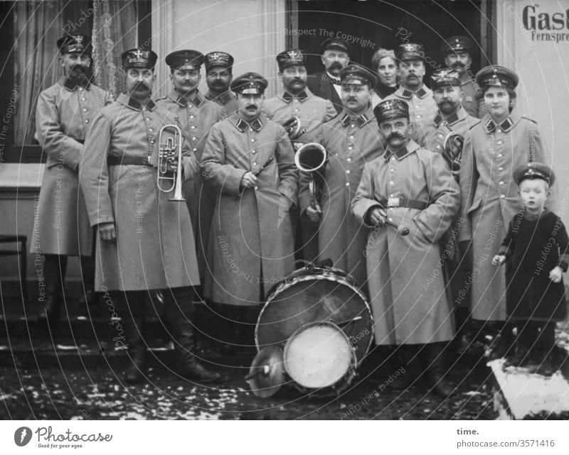 Chapel dig in Music music band wind instrument kettledrum House (Residential Structure) Group photo Uniform marching band Facial hair Orchestra then Former
