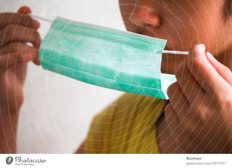 Protection of body Environmental protection Colour photo Environmental pollution Day Face mask Mask covid-19 coronavirus Corona flu teenager stay at home