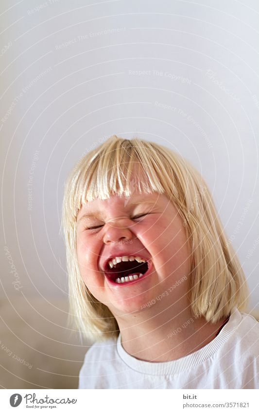 Laugh bomb explodes Child Toddler girl Laughter Laughing fit Funny Happiness Joy portrait luck Cute Infancy Blonde wittily fun Funster Comical laughing fit