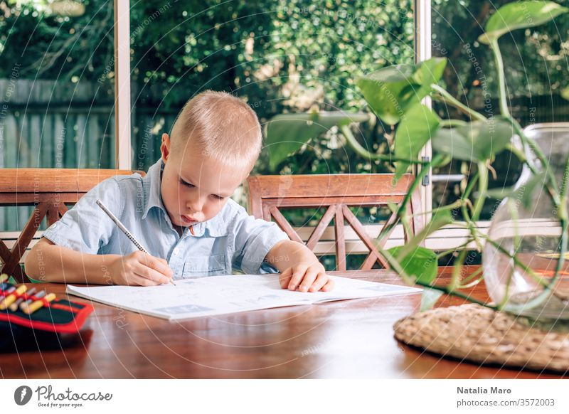 Little Child drawing in a textbook at home, a boy holding pen and writing. Blurred monstera plant in the foreground. table education write student