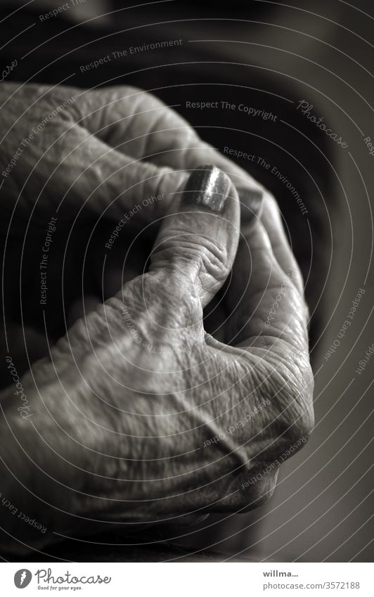 The paint is far from gone hands age Senior citizen Fingers Nail polish old woman Black & white photo life traces Old Woman 60 years and older Female senior