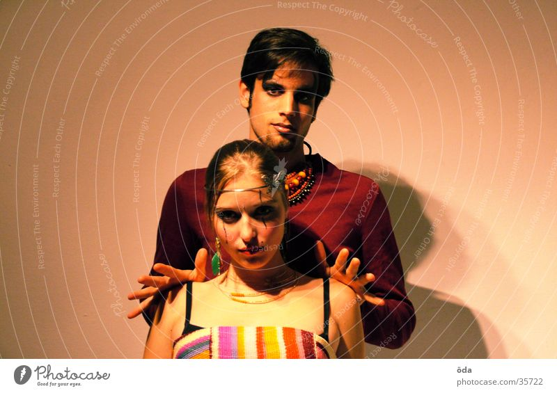 push me away Hand Jewellery Necklace Wearing makeup Make-up Posture Human being Couple push away Face Looking