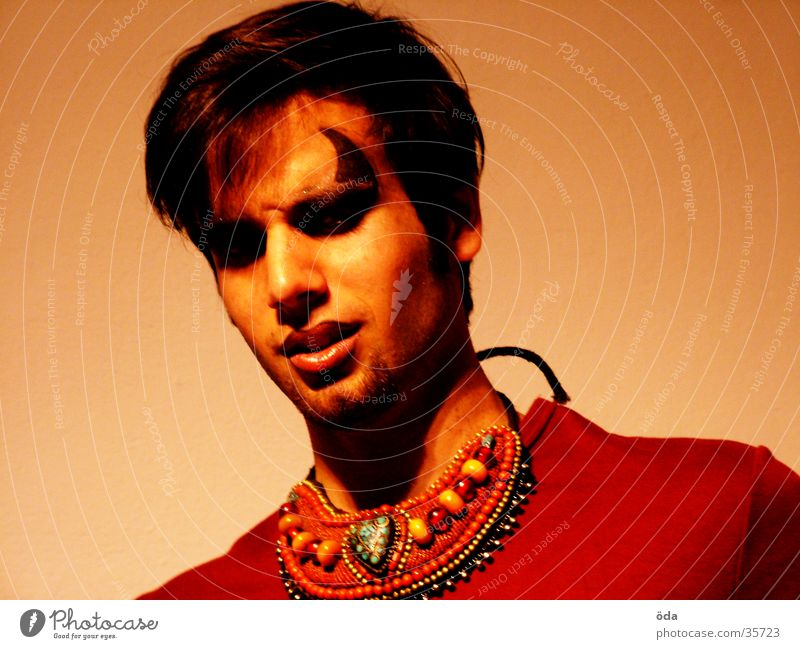 Man Face Eyes Posture Jewellery Make-up Antlers Necklace Devil Wearing makeup