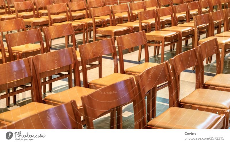 Empty Chairs chairs Row of chairs Chair rows Uncomfortable Wooden chair Wooden chairs sitzfleisch Church church chairs rank and file Brown brown chairs