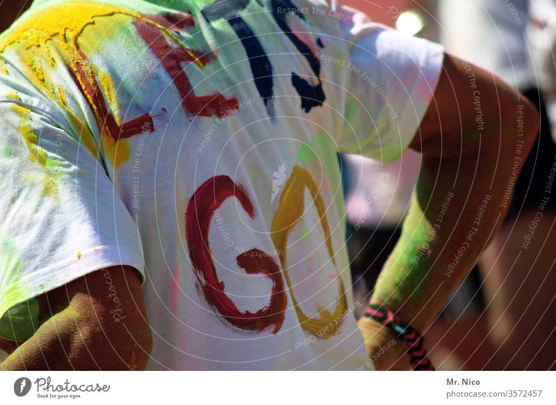 Let's go lets go T-shirt Colour colourful Holi Festival Dye holi Clothing Back sleeves variegated Dirty Entertainment Lifestyle Feasts & Celebrations Art Joy