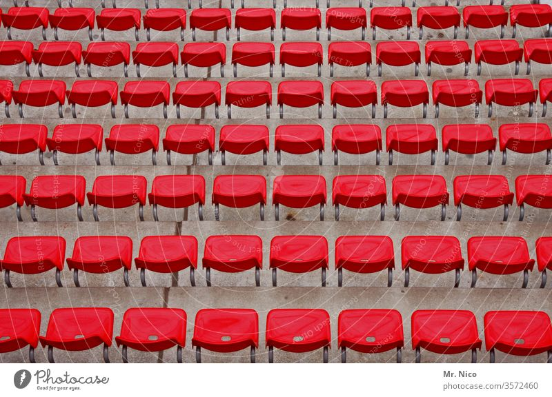 Symmetry   in red Red Stadium Structures and shapes Pattern Abstract Side by side Behind one another Perspective Orderliness Arrangement Equal Many Plastic