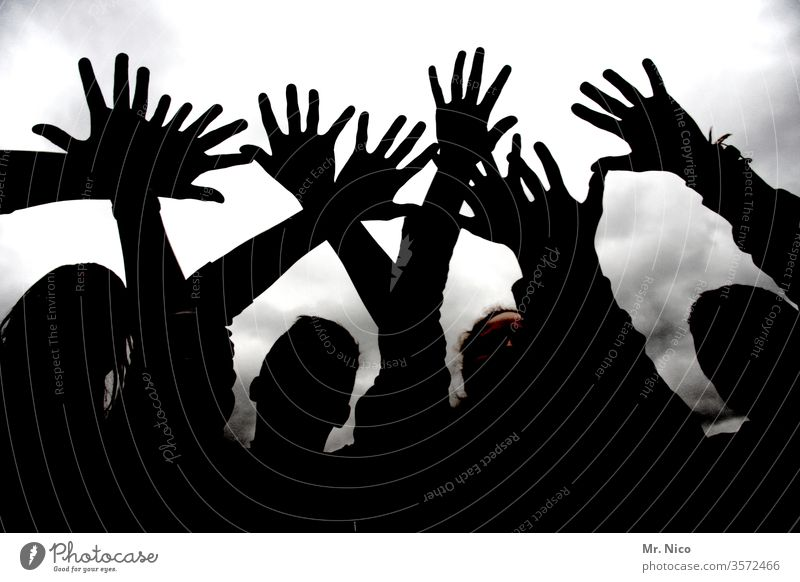 Hands to the sky Silhouette hands Hands up! Shadow Body Fingers Shadow play Anonymous Black Light and shadow silhouette silhouettes Hazy Shadowy existence