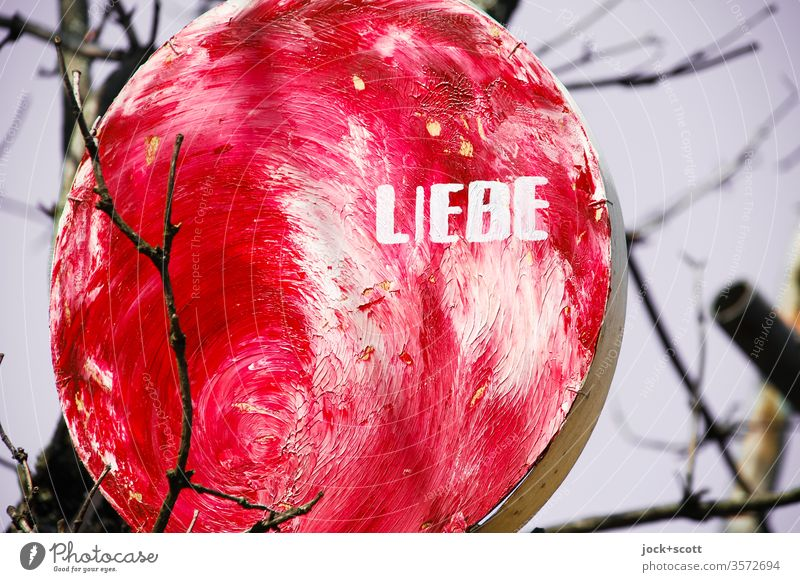 red, round love hangs on the branch Love Street art Declaration of love With love Display of affection Infatuation oil painting Romance Word Typography Winter