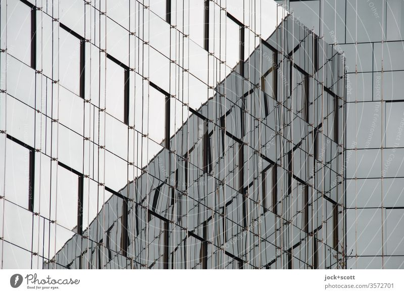 Glass façade that reflects itself Silhouette Contrast Shadow Abstract Boundary Geometry Corner Objectivity Adequate Future Quality Gloomy Modern Cliche