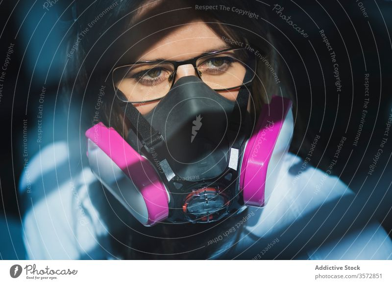 Woman in protective respirator mask woman prevent safe secure coronavirus covid safety pandemic risk professional tool equipment disease female outbreak