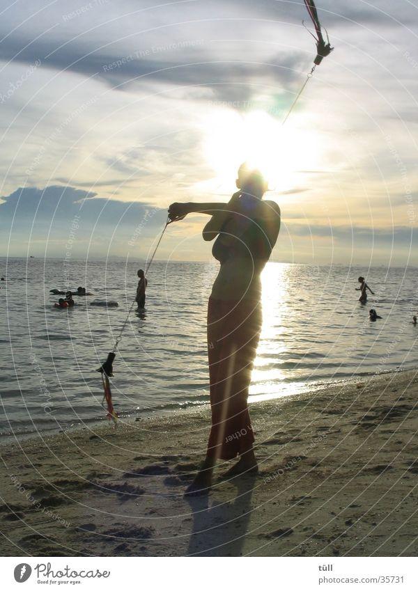 Woman Ocean Beach Elegant Asia