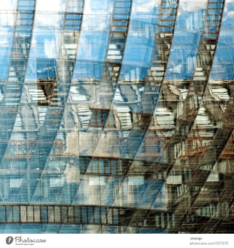 Total blue mirror Elegant Style Design Construction site Art Manmade structures Building Architecture Facade Glass Line Old Exceptional Cool (slang) Uniqueness