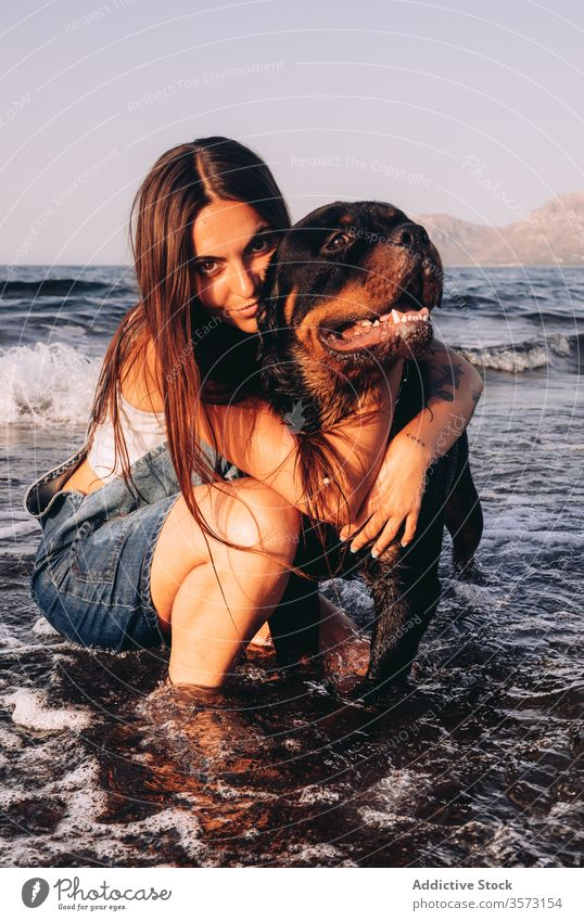Cheerful young female with black Rottweiler on seashore during weekend woman dog beach coast together friend owner stroll crouched down wave excited purebred