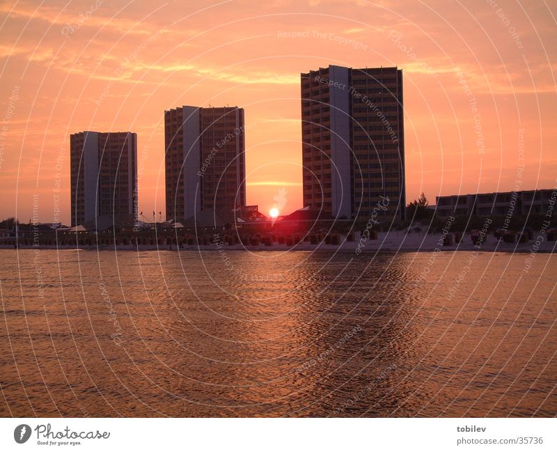 Triple towers fall to sleep High-rise Sunset Ocean Lake Beach Hotel Vacation & Travel Architecture Stairs sunrise Baltic Sea Sky Water