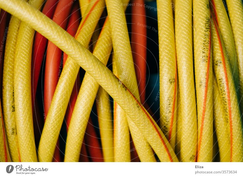 Close-up of a yellow garden hose Garden hose Water hose Yellow Cast Gardening detail coiled Hose Near Orange
