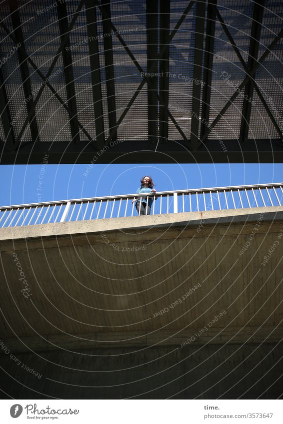 Bridge picture with lady bridge Woman Tall portrait Stand Handrail pile-lander Sky look Observe Perspective disheveling