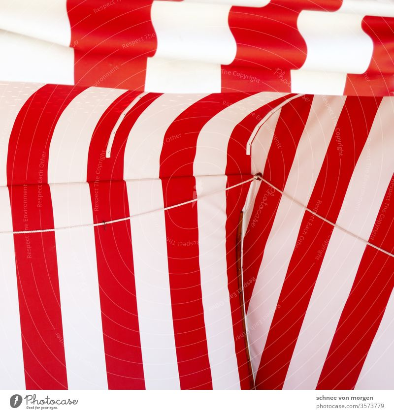 Holiday in red and white with view to the sea Ocean Sand beach beach chair beach chairs North Sea relaxing vacation Vacation & Travel Sun on the beach