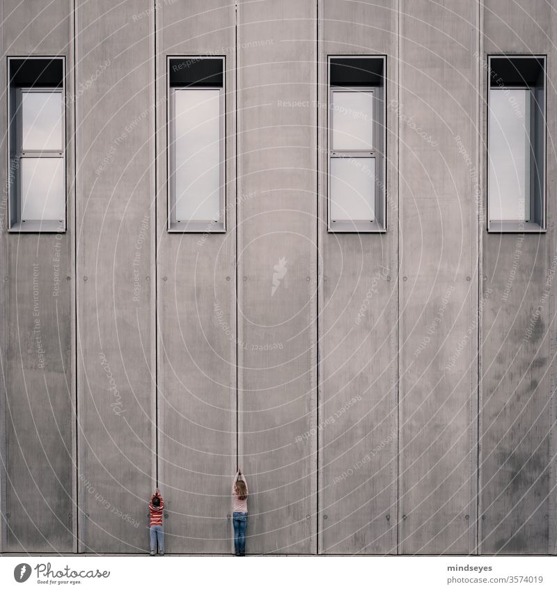 big and small children Infancy Architecture wax Stretching built great Window Concrete disparate Contrasts Gray variegated Wall (building) Gigantic Gloomy