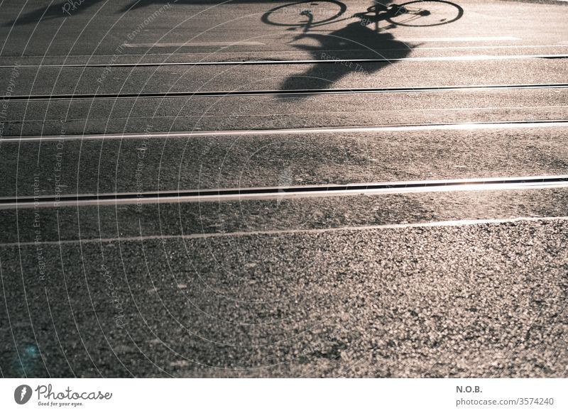 Shadow of a cyclist on the asphalt Bicycle Cycling Street Asphalt asphalting Railroad tracks Exterior shot Leisure and hobbies Transport Means of transport Town