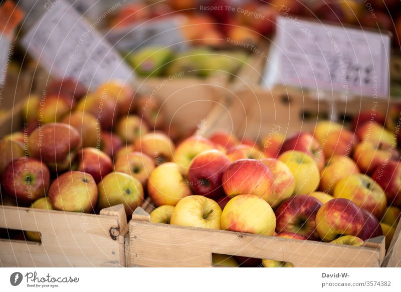 Weekly market - apples for sale Marketplace Farmer's market Vegetable fruit Market stall Sustainability salubriously Organic produce Merchant consumer buyer