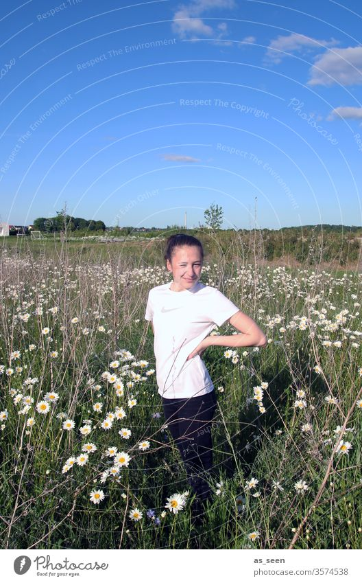 Girl in a daisy field girl Field flowers marguerites Marguerite White Blue Sky Beautiful weather Nature Plant Summer green Meadow Environment Day spring
