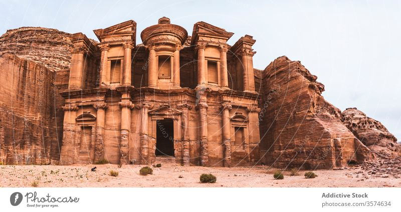 Views of a famous temple in Petra seen from above ancient architecture historic old stone carve building tourism petra jordan middle east culture heritage