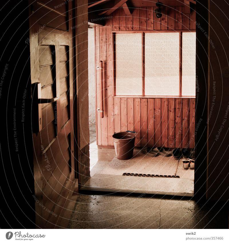 Open house day Living or residing Wall (barrier) Wall (building) Window Door Doormat Door handle Stone Wood Glass Simple Glittering Bright Patient Calm