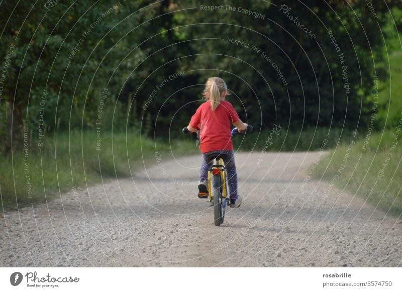 vital | childhood adventure - little girl is alone on her bike Bicycle by oneself Adventure Trip In transit Child Driving Nature off Gravel path rural out