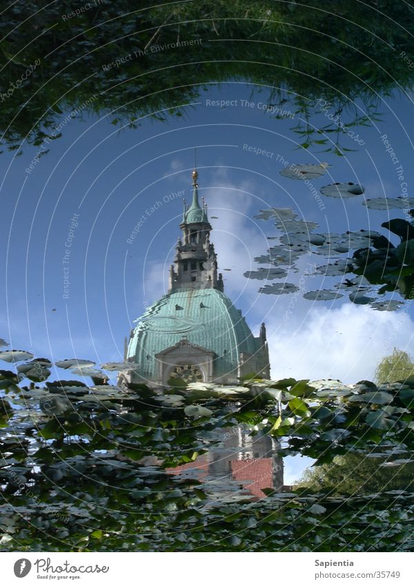 Hanover's town hall in the water Pond Reflection Water lily Blue Sky