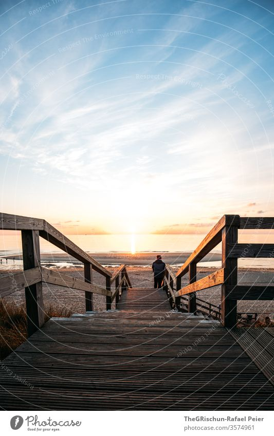 Footbridge to the beach Sylt Beach vacation Sand Vacation & Travel Beautiful weather North Sea Summer Ocean Water Sky Blue Sunset Germany Calm Restorative