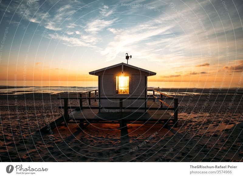 Lifeguard house at the beach in Sylt Beach vacation Sand Vacation & Travel Beautiful weather North Sea Summer Ocean Water Sky Blue Deserted Sunset Beach dune