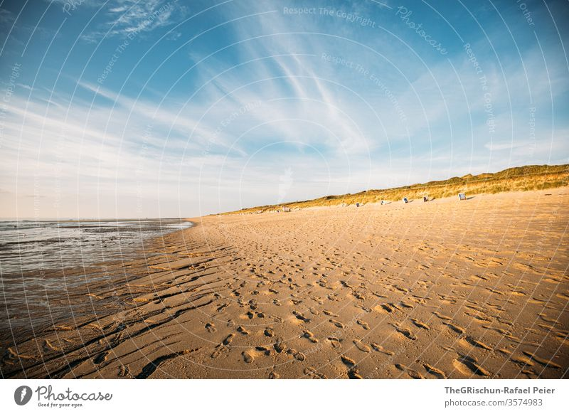 Sandy beach in Sylt Beach vacation Vacation & Travel Beautiful weather North Sea Summer Ocean Water Sky Blue Deserted Sunset Beach dune beach chair Germany