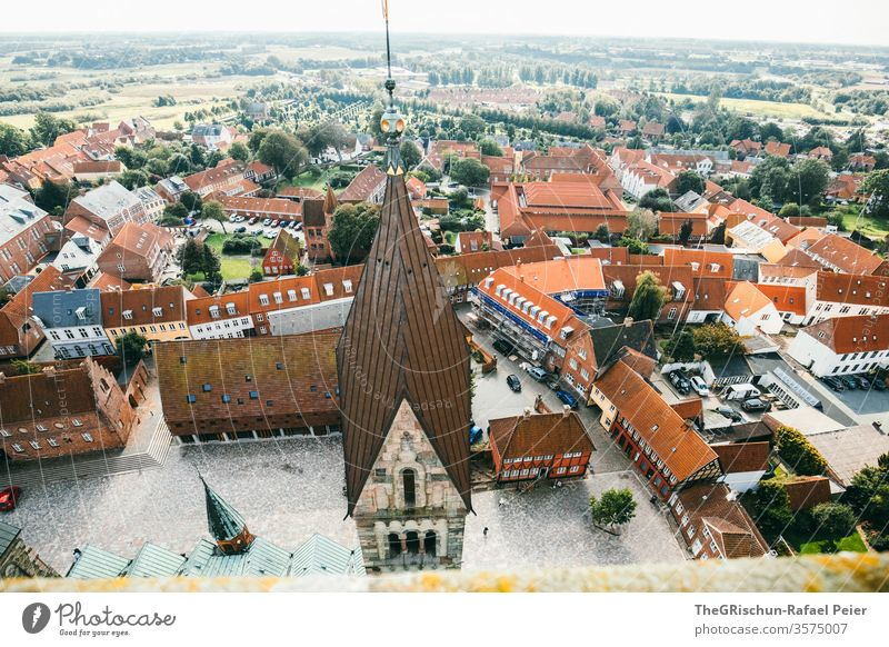 Church tower and houses from above House (Residential Structure) house cell Ribe Denmark Exterior shot Vacation & Travel Tourism Historic Colour photo Day