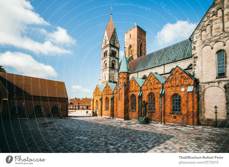 Impressive church - deserted House (Residential Structure) house cell Ribe Denmark Clouds Sky Exterior shot Blue Vacation & Travel Tourism Paving stone Historic