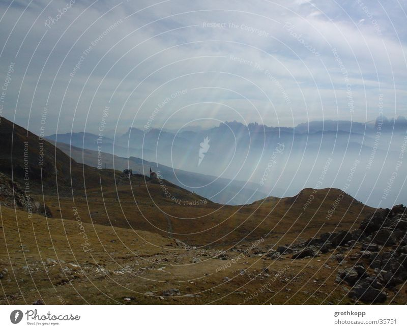Clouds Meadow Mountain Religion and faith Fog Federal State of Tyrol Austria Beam of light Gravel
