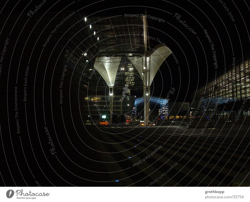 Munich Airport by Night Art Funnel Light Dark Black Architecture