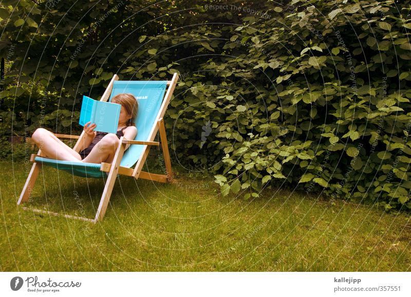 garden reading Parenting Education Schoolchild Child Girl Infancy Life Skin 1 Human being 8 - 13 years Study Reading Sit Sit Cross Legged Deckchair Hedge Garden