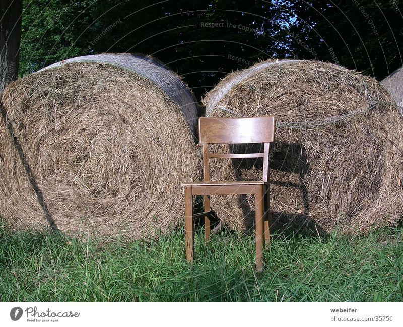 summer idyll Straw Bale of straw Summer Calm Farm Chair Idyll Relaxation Sun